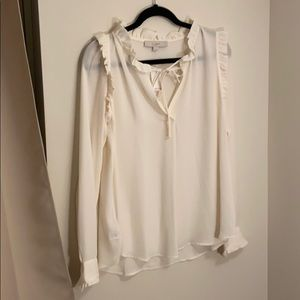 Cream Ruffle Blouse
